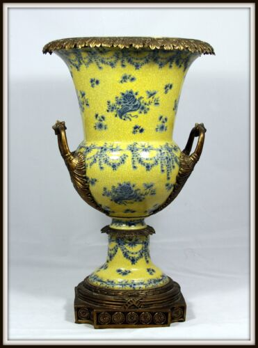 "Exquisite ""Grand Porcelain & Bronze Urn"" (18.75"" High x 11"" Wide) Fluted Handles"
