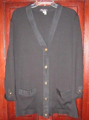Moda Caprese Sz 14 L Cardigan Sweater Coat Jacket Ribbed Knit Wool Button Italy