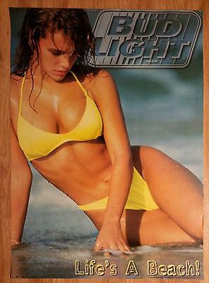 Sexy Girl Beer Poster Bud Budweiser ~ Life's A BEACH Yellow Bikini Swimsuit