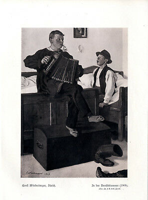 Ernst Würtenberger In der Knechtekammer Akkordeon-Spiel Histor.Kunstdruck v.1909