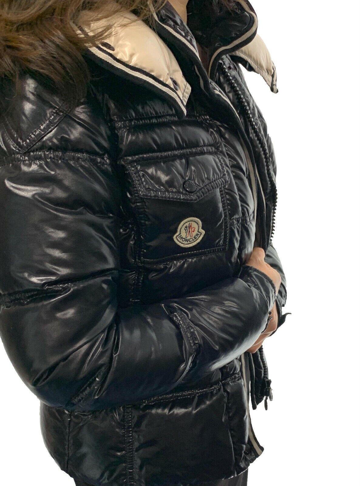 Authentique moncler logo capuche doudoune #00 nylon bas plume noir classement ab