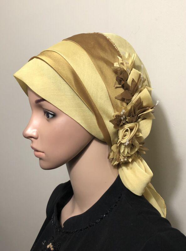 Fancy Hijab Bonnet Scarf Tichel Lady Turban Chemo Style Head Cover Yellow Citron