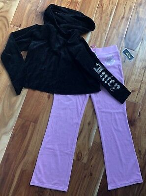 Juicy Couture 2 Piece Velour Jacket and Pants Pink & Black Size S NWT -