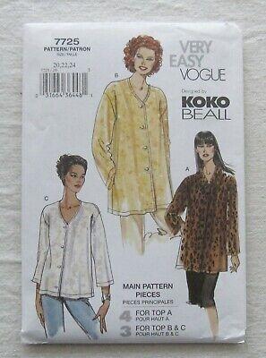 Vogue Sewing Pattern*7725*Sz 20-24*UNCUT/FF*loose top*Koko Beall*PLUS SIZE