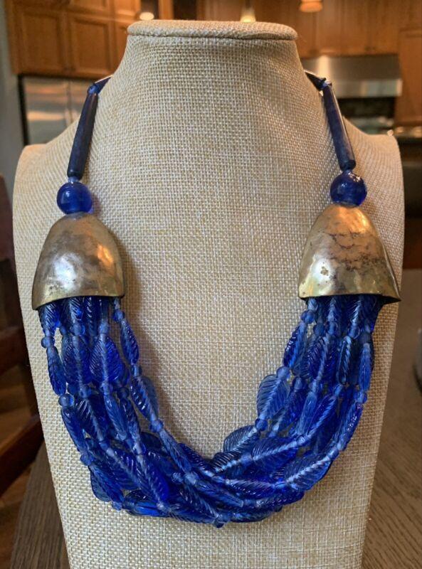 ESTATE Brass Czech Lapis BLUE Molded Press Glass Leaf Bead BIB NECKLACE