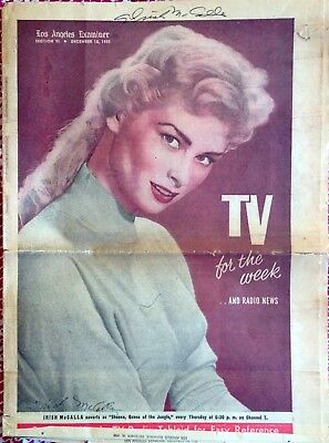 ORIGINAL 1955 LA EXAMINER TV MAGAZINE IRISH MCCALLA, HAND SIGNED + 8X10 PHOTO