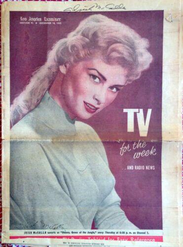 ORIGINAL 1955 LA EXAMINER TV MAGAZINE IRISH MCCALLA, HAND SIGNED + 8X10 PHOTO