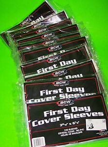 1000-FIRST-DAY-COVER-POLY-SLEEVES-FOR-6-3-4-COVERS-CRYSTAL-CLEAR-BCW-BRAND