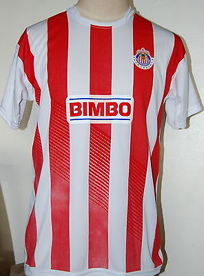 CHIVAS TEAM SOCCER JERSEY TSHIRT SIZE LARGE SHIRT RED/WHITE MEXICO NEW DESIGN