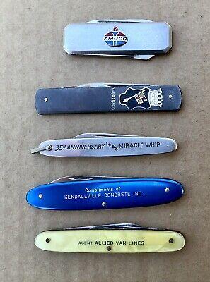 Vintage Lot 5 Advertising Pocket Knives Autopoint Barlow Schrade Victorinox Etc.