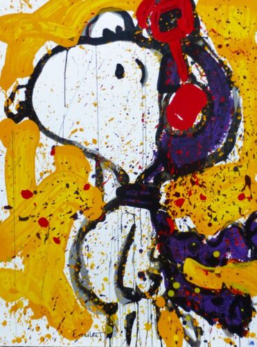 """Tom Everhart """"to Remember... The Salute"""" Yellow Peanuts Cool Snoopy Hand Signed"""