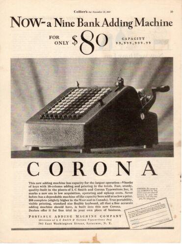 1928 ORIGINAL VINTAGE CORONA ADDING MACHINE MAGAZINE AD**