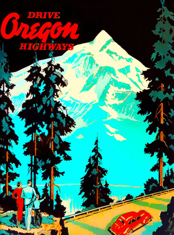 Drive Oregon Highways United States of America Travel Art Poster Advertisement