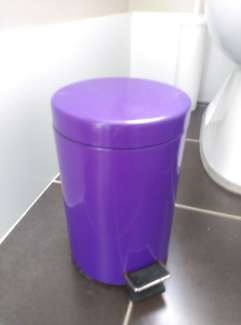 small purple pedal bin