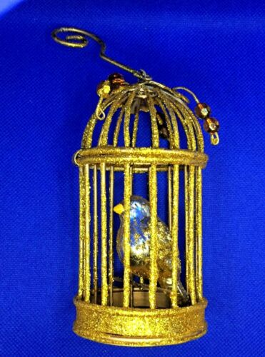 """3 Christmas Tree Ornaments Bird Gold Color In Birdcage 4 1/2"""" Tall  Metal Lot"""