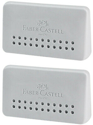 Faber-castell Eraser Grip 2001 Edge Grey Pvc Free Ergonomic Shape 2pcs