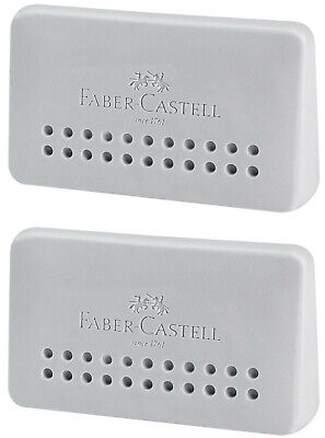 Faber-castell Eraser Grip 2001 Edge Grey Pvc Free Ergonomic Shape 2pcs