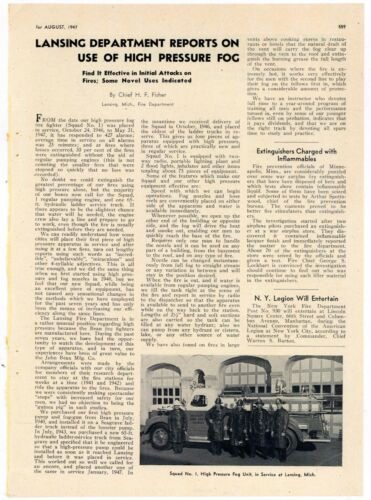 1947 Fire Engine News Story & Photo: Lansing Michigan Fire Department Truck Pic