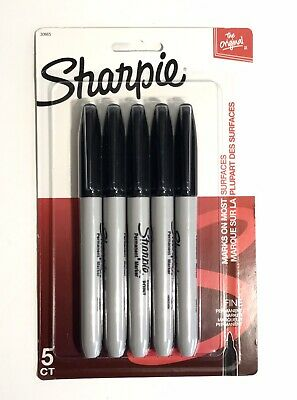 Sharpie Black Ink Fine Point Tip Permanent Marker Pens Pack Of 5 Quick Dry