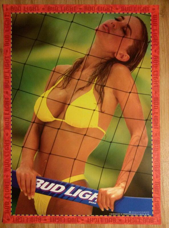 Sexy Girl Beer Poster Bud Budweiser ~ Beach Volleyball Yellow Bikini Swimsuit