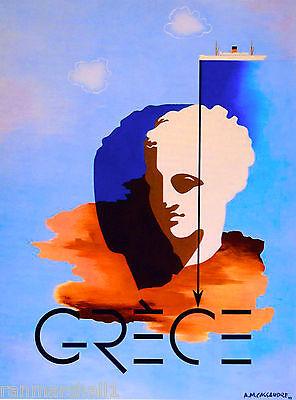 Greece Greek Grece Statue Europe European Vintage Travel Advertisement Poster