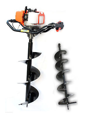 2.3 Hp 52cc One Man Gas Post Hole Digger Earth Driller W2 Auger Bits 10 And 6
