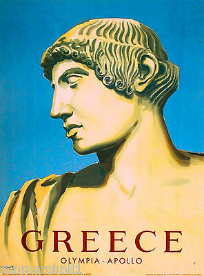 Greece Greek Olympia Apollo Europe European Vintage Travel Advertisement Poster