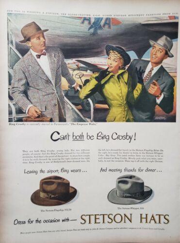 Vintage 1948 Stetson Hats Print Ads Ephemera Art Decor Bing Crosby