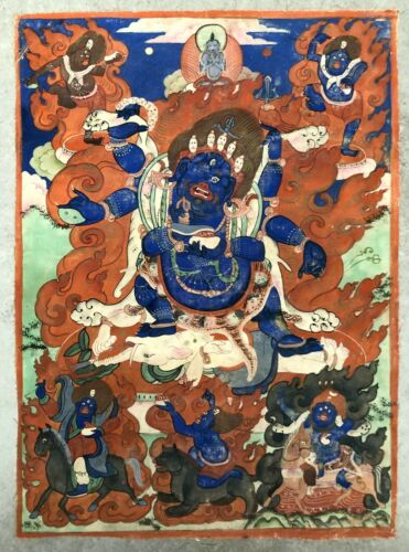SIGNED Sino-Tibetan or Mongolian Thangka (Tangka) depicts Mahakala.