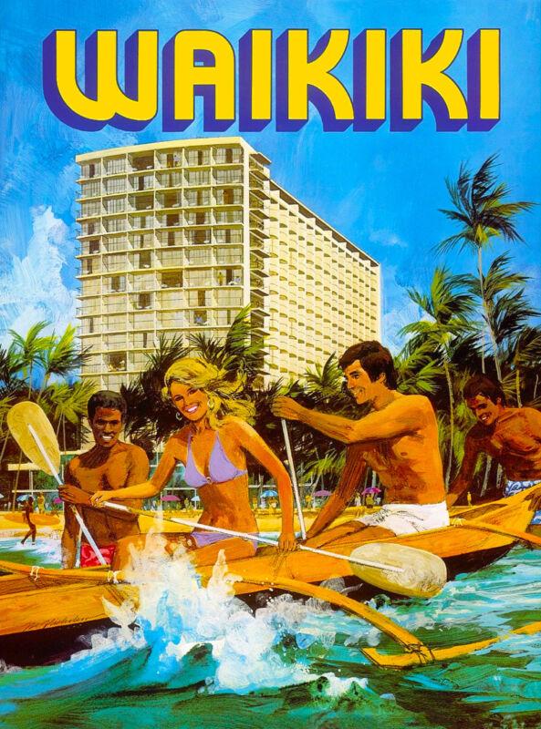 Hawaii Waikiki Beach Oahu Hawaiian United States Travel Advertisement Poster