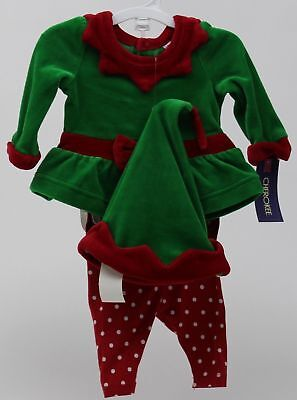 Christmas Cherokee Elf Outfit Red & Green Shirt Polka Dot Pants Hat Size Newborn - Elf Toddler Outfit