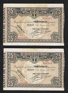 ESPANA-BILBAO-Pareja-correlativa-25-Pesetas-1937-MBC