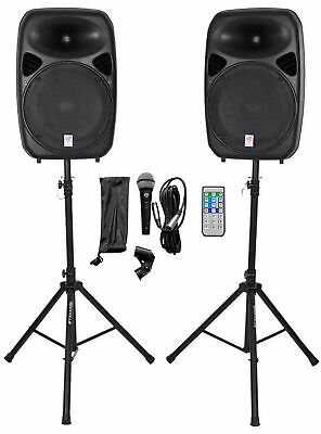 "Rockville RPG152K Dual 15"" Powered Speakers/Bluetooth+Mic+Speaker Stands+Cables"