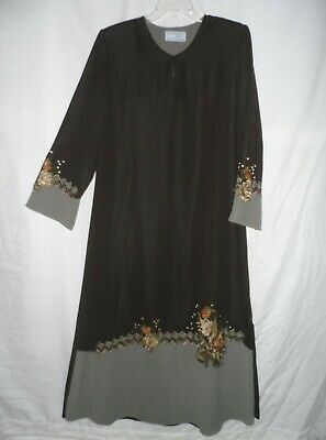 Green Double Layers Embroidered Formal Eid Jordan Abaya Maxi Long Dress Size L M