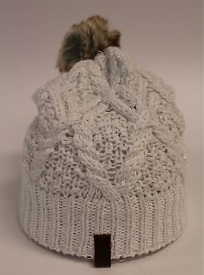 Superdry Women's Nebraska Cable Knitted Beanie SH3 Cream Sparkle One Size NWT