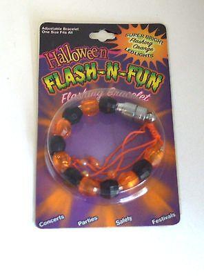 Halloween Flash-n-Fun FLASHING BRACELET Black ORANGE Light UP - Halloween Flash