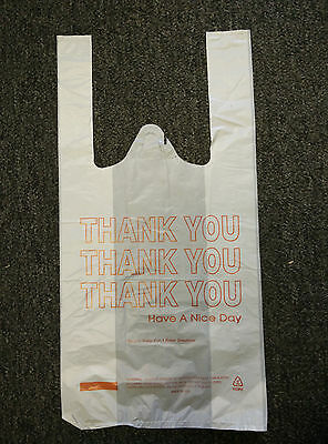 Small T-shirt Bag Bags White Thank You 8x4x16 2550100150200250300400