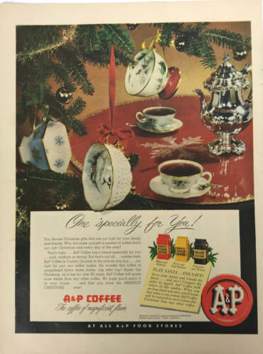 A P Coffee Tea Cup Christmas Magazine Print Ad Vintage Grocery Store 1951 Tree
