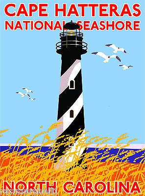 Cape Hatteras Seashore North Carolina United States Travel Advertisement Poster