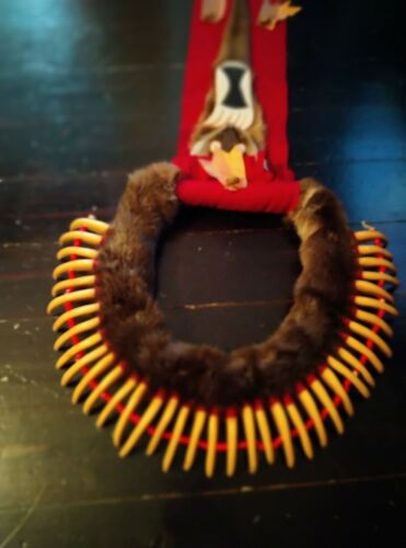 plains style beaded Otter bear claw necklace