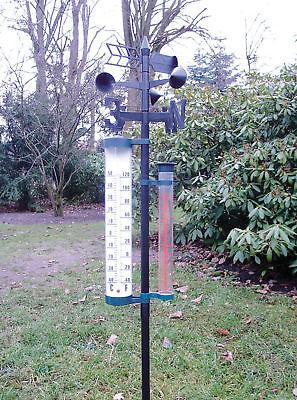 XL Garten Wetterstation Barometer Regenmesser Thermometer Windgeschwindigkeit