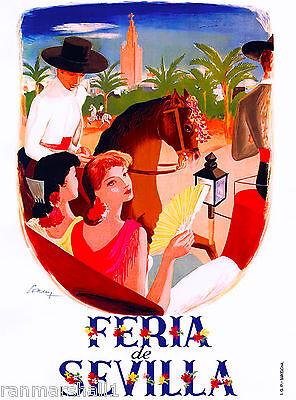 Feria de Sevilla Seville Spain European Vintage Travel Advertisement Poster
