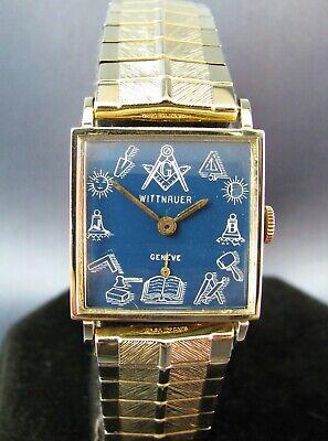 Vintage Longines Wittnauer Masonic 10K Gold RGP Square Mens Watch 17J 1950s