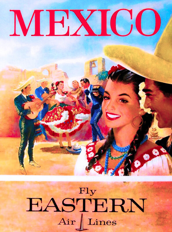 Mexico Mexican Senorita Vintage Latin America Travel Art Poster Advertisement