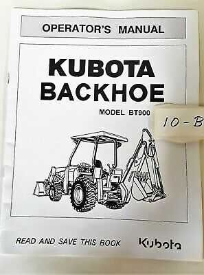 Kubota Backhoe Bt900 Operators Manual