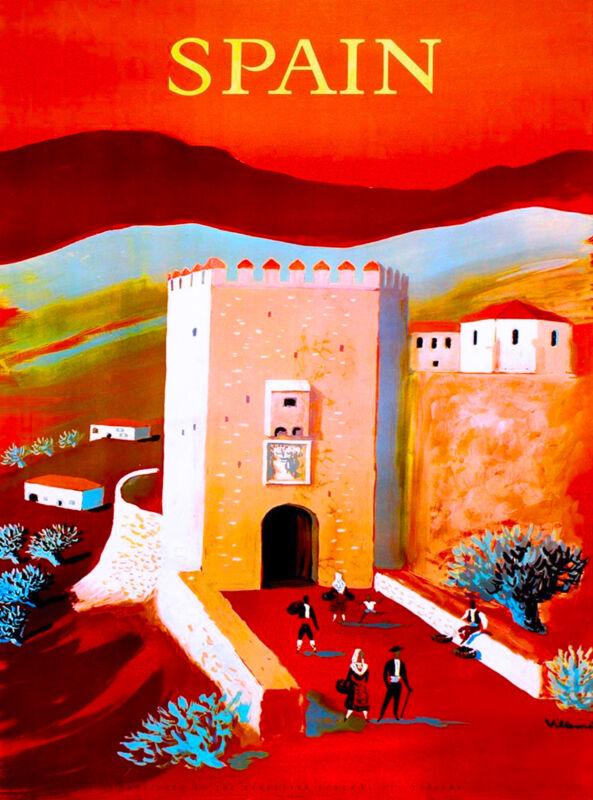Spain Spanish Scenic Vintage European Europe Travel Art Poster Advertisement