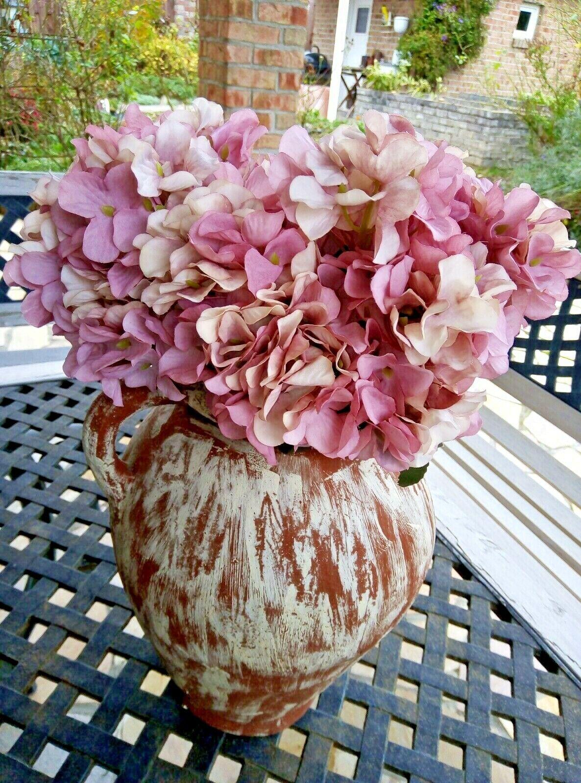 Hortensie Kunstblumen Seidenblumen Blume Shabby Chic rosa mit 6 Blüten