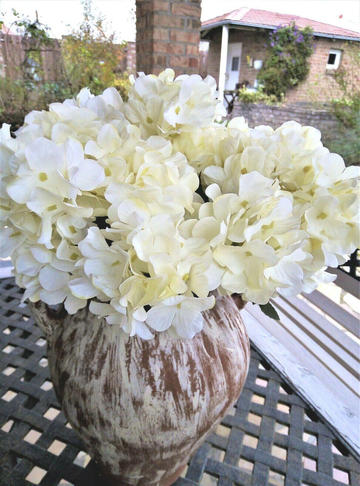 Hortensie Kunstblumen Seidenblumen Blume Shabby Landhaus weiß mit 6 Blüten