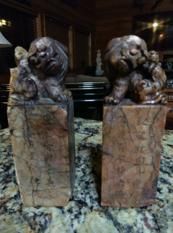 """PAIR OF ANTIQUE CHINESE ART SOAPSTONE SEAL  WITH FOO DOG TOP 6-1/2"""" X 2-1/8"""""""