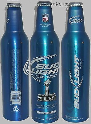 NFL 2012 SUPERBOWL FOOTBALL SPORT BUD LIGHT BUDWEISER ALUMINUM BEER BOTTLE-CAN